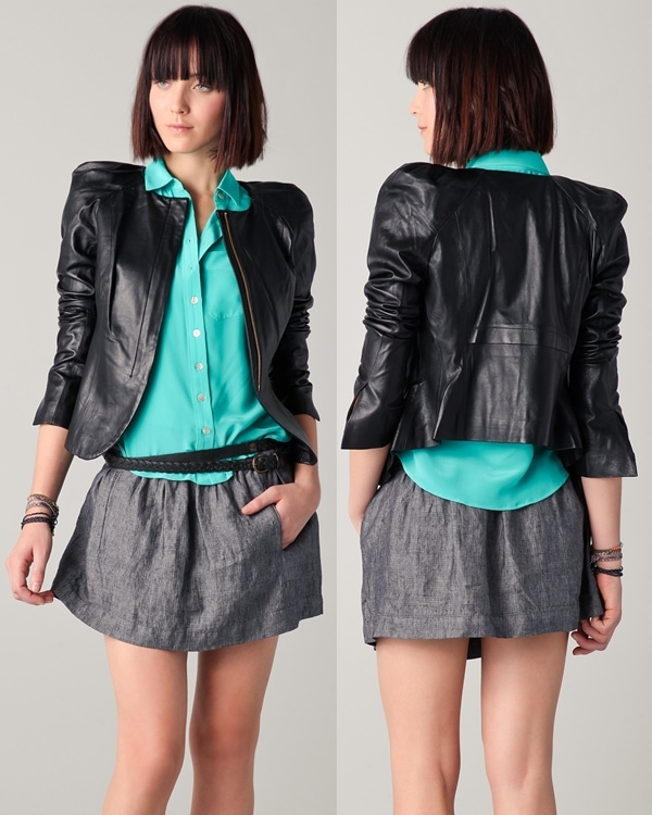 Parker Leather Pleated Shoulder Jacket