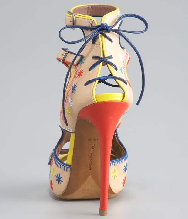 Tabitha Simmons Embroidered Ankle Strap Platform Sandals