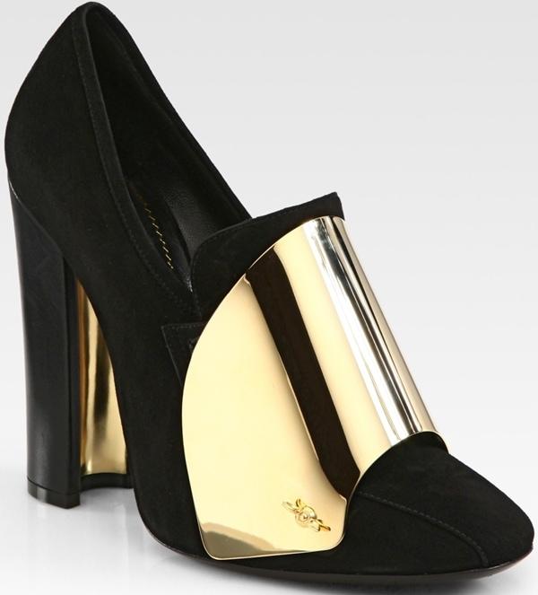 Yves Saint Laurent Black Suede Metal-plated Loafer Pumps