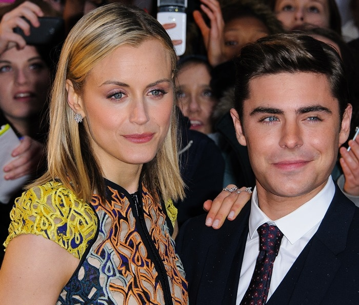 "Zac Efron and Taylor Schilling attend ""The Lucky One"" UK premiere at the Bluebird Cafe at the Chelsea Cinema on the King's Road in London, England on April 23, 2012"