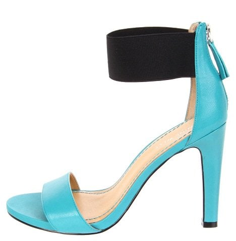 Nine West LookGlobal Ankle Wrap Sandals in Turquoise/Black