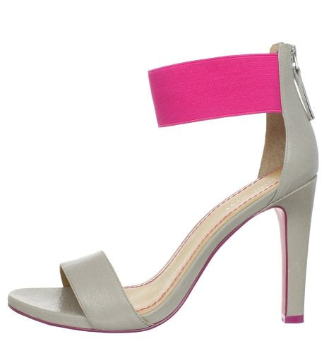 Nine West LookGlobal Ankle Wrap Sandals in Grey/Pink