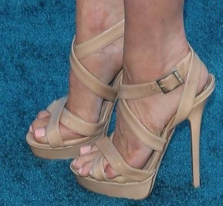 Brittany Snow's hot feet in Jimmy Choo sandals
