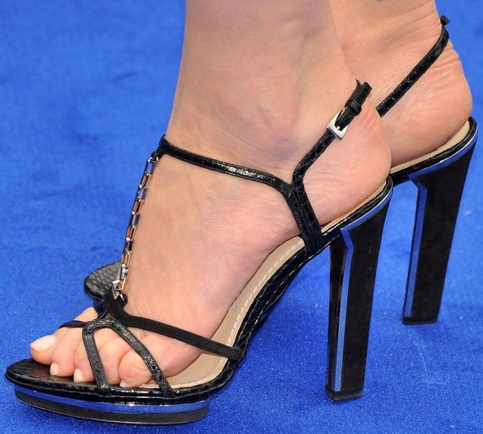 Charlize Theron in Dior t-strap platform sandals