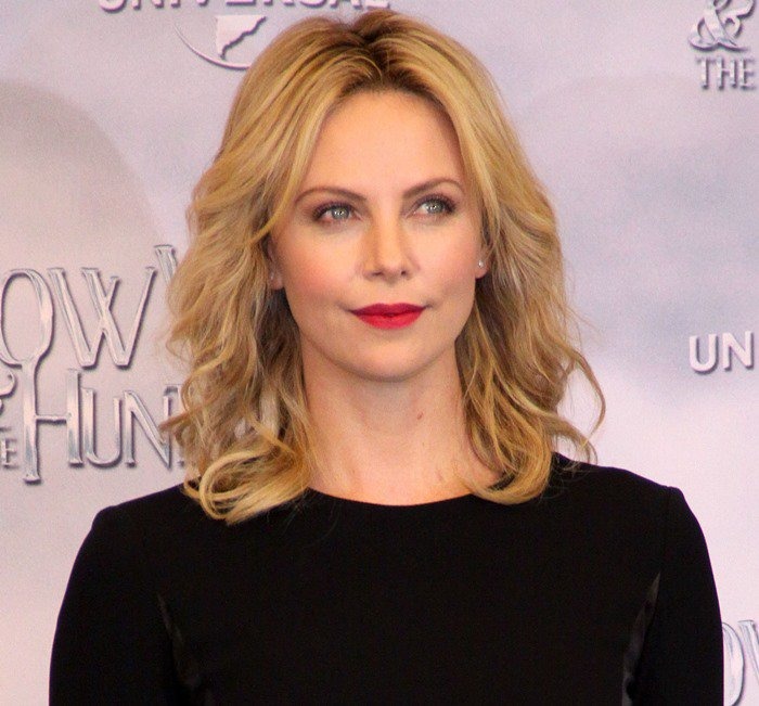 Charlize Theron promoting her new movie