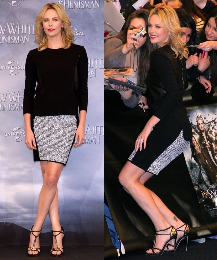 Charlize Theron wears Giuseppe Zanotti metal t-strap sandals while promoting her new movie