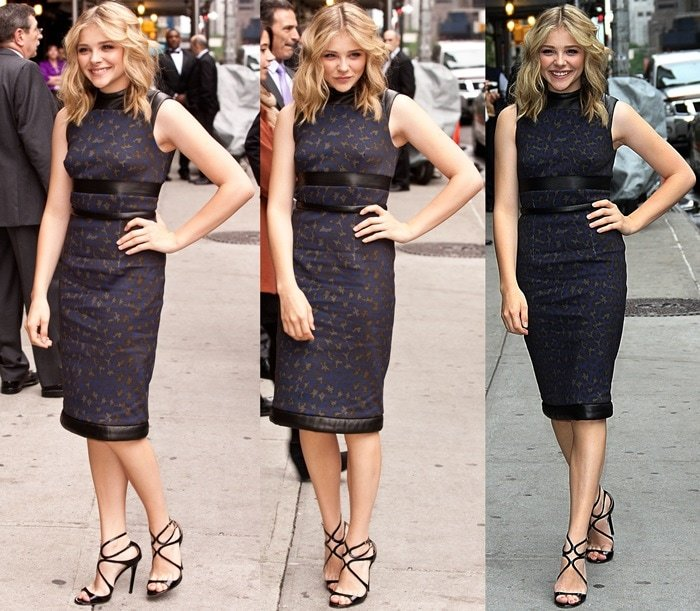 Chloe Moretz wearing strappy Lance sandals from Jimmy Choo