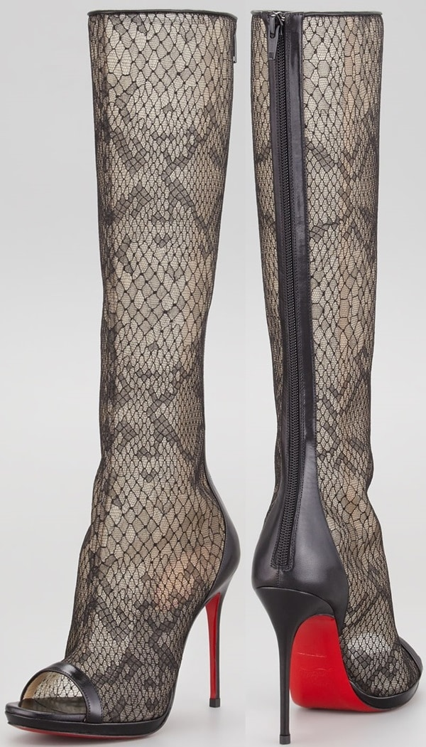 Christian Louboutin Alta Dentelle Lace Tall Red Sole Boot