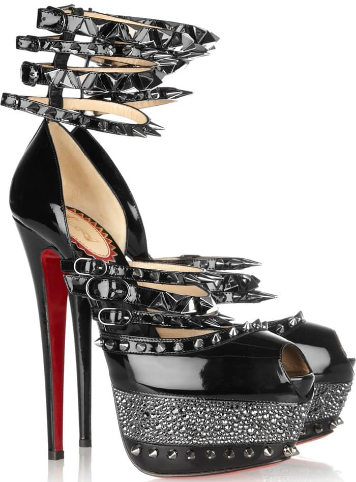 Christian Louboutin Black 20th Anniversary Isolde 160 Patentleather Sandals