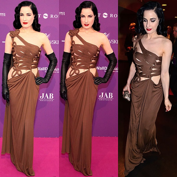 Dita Von Teese showed off plenty of her flawless porcelain skin in this risqué Jean Paul Gaultier gown