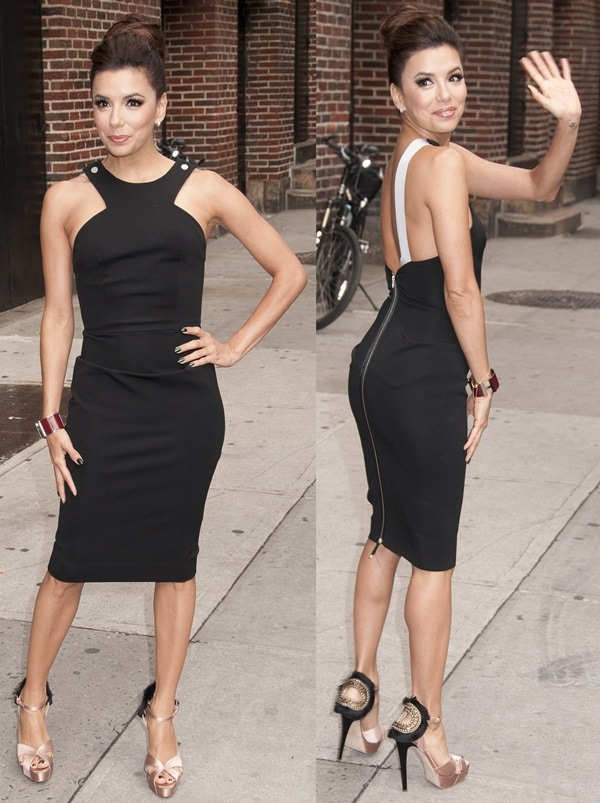 Eva Longoria stops by the 'Late Show with David Letterman' and poses for photos outside the Ed Sullivan Theater in New York City on May 9, 2012