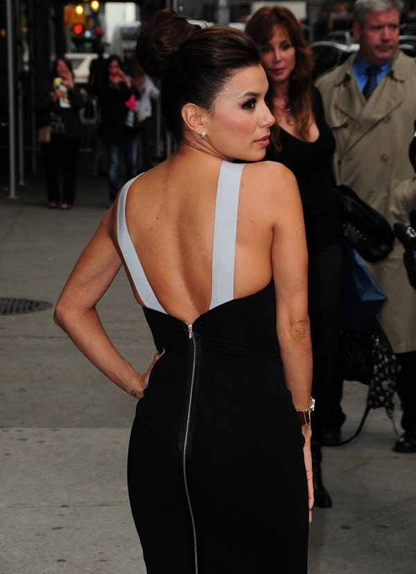 Actress Eva Longoria in a Victoria Beckham dress