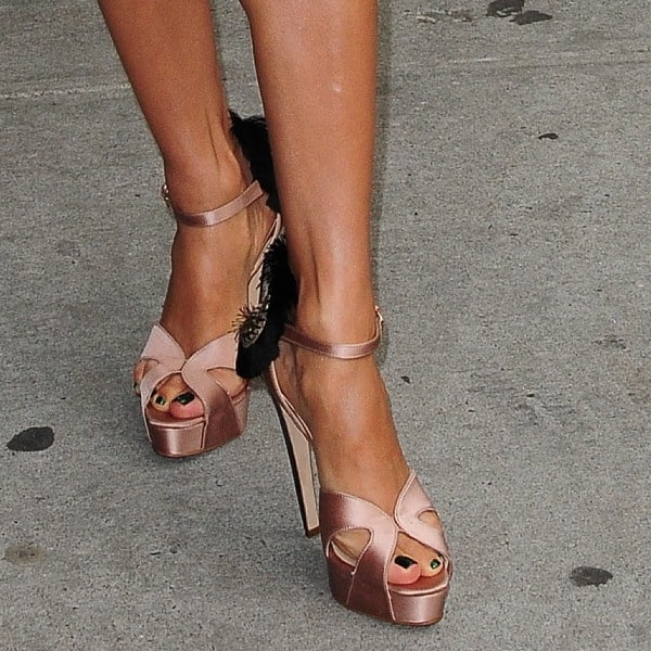 Eva Longoria wearing Brian Atwood 'Vanity' chain and fringe trimmed sandals