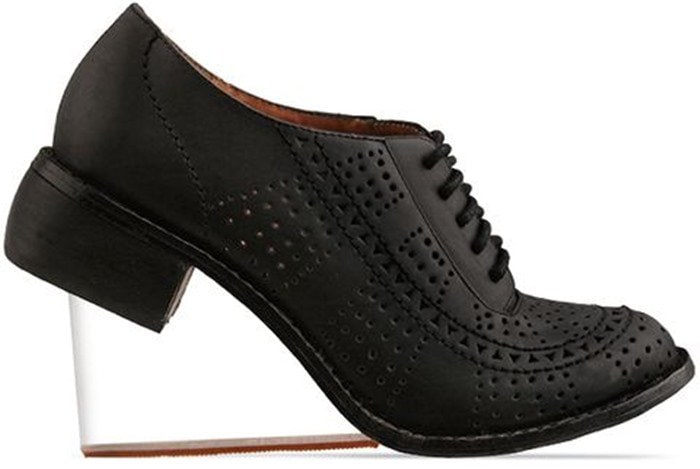 Jeffrey Campbell The Upend Shoe In Black Washed With Clear Wedge