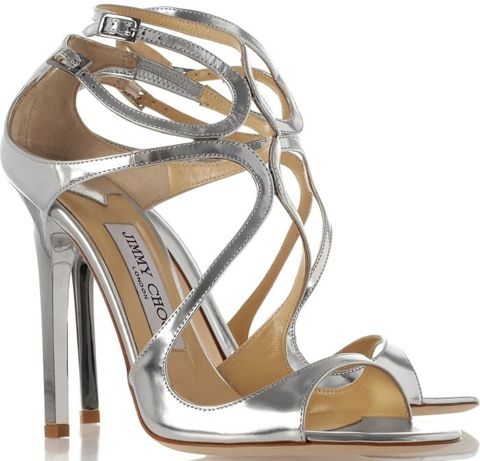 Jimmy Choo Silver Lance Metallic Leather Sandals