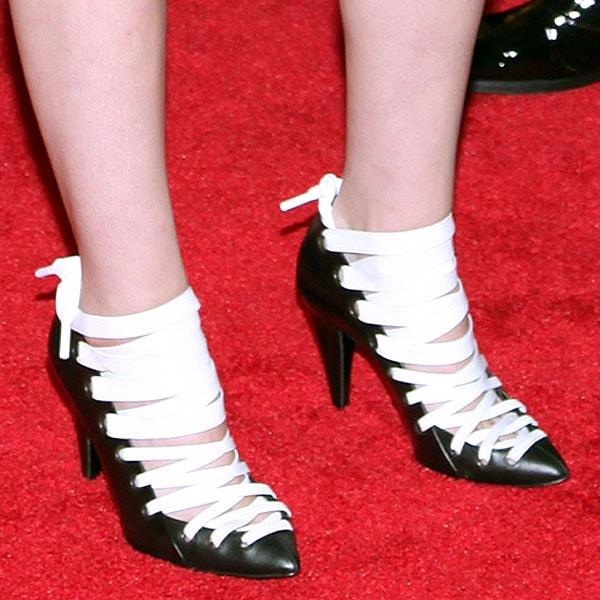 Kristen Stewart paraded her legs in white and black Balenciaga pumps