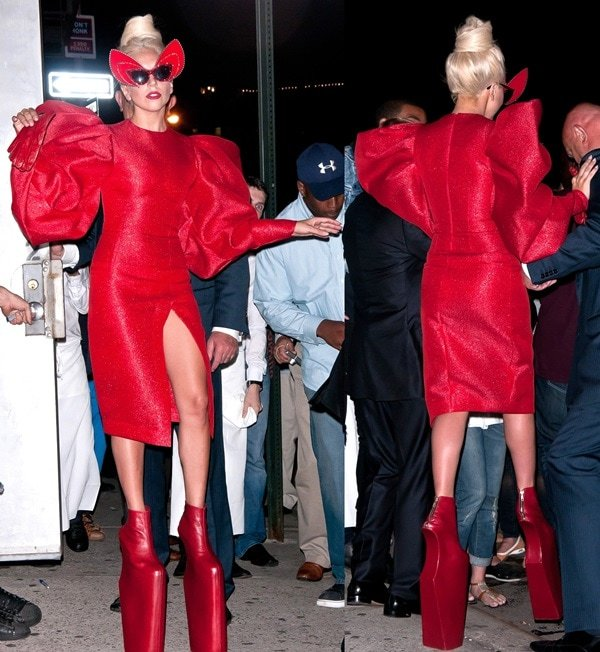 Lady Gaga appears on the set of photo shoot wearing an outlandish costume in NYC's Meatpacking District on September 12, 2011