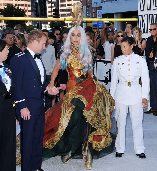 Lady Gaga wearing Alexander McQueen at the 2010 MTV Video Music Awards