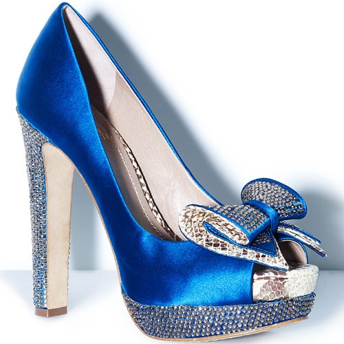Blue Rhinestone Studded Bow Pump by Vince Camuto