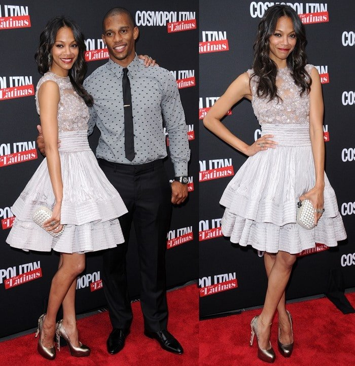 ctress Zoe Saldana and NFL player Victor Cruz attend the Cosmopolitan For Latina's Premiere Issue Party
