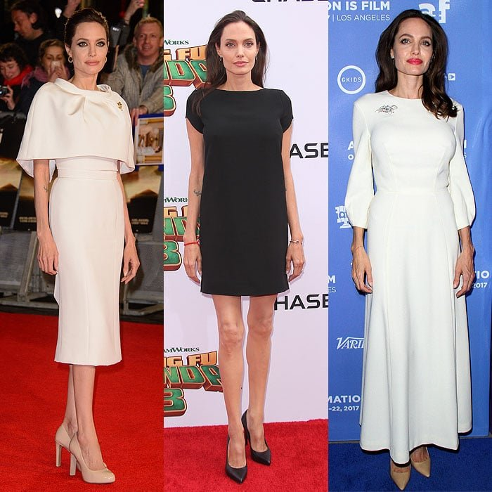 Angelina Jolie in boring shoes.