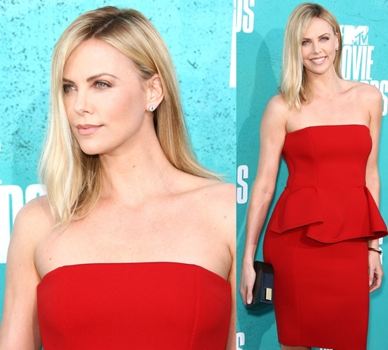 Actress Charlize Theron arrives at the 2012 MTV Movie Awards at Gibson Amphitheatre on June 3, 2012, in Universal City, California