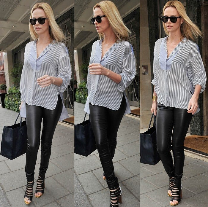 Charlize Theron wears Christian Louboutin's 'Decoupata' bootie sandals as she leaves Claridges Hotel in London on June 1, 2012