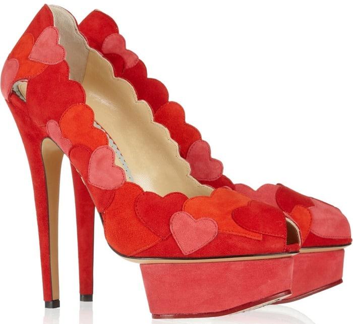 Charlotte Olympia 'Love Me'heart-appliquéd suede pumps