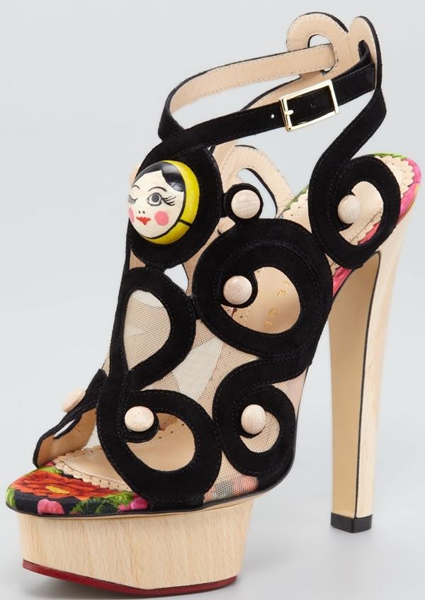 Charlotte Olympia 'Matryoshka' Suede Sandals