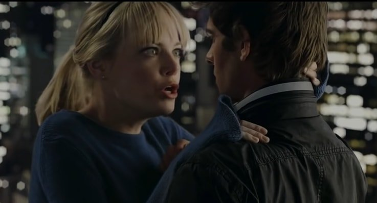 Emma Stone portrays Gwen Stacy, the love interest of the title character (played by Andrew Garfield) in The Amazing Spider-Man and its sequel