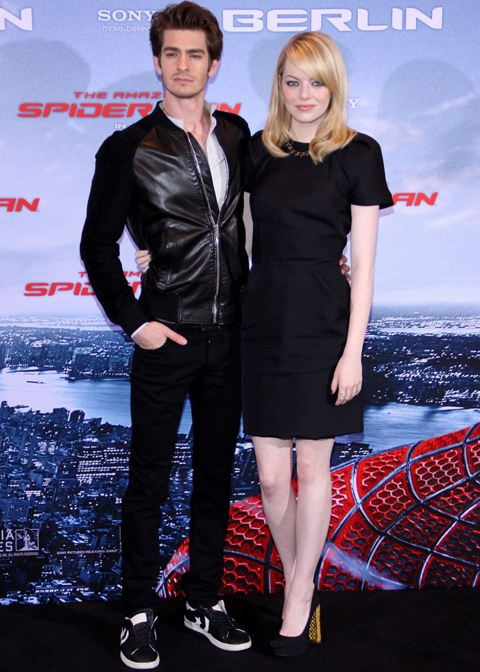 """Andrew Garfield and Emma Stone pose for photos at the Berlin photo call for their new movie """"The Amazing Spider-Man"""""""