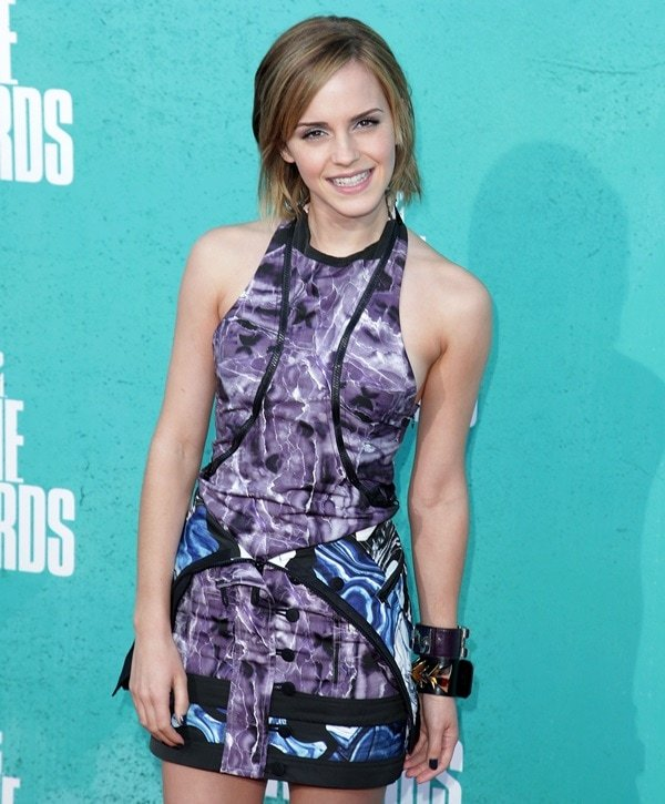 Emma Watson wore a scuba-inspired mini dress