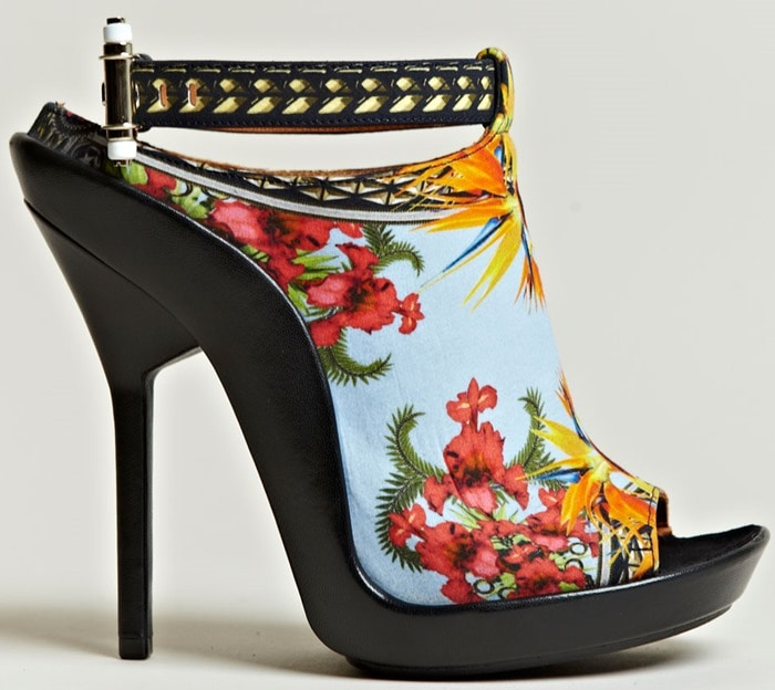 Givenchy Multicolor Printed Open Toe Stilettos Side