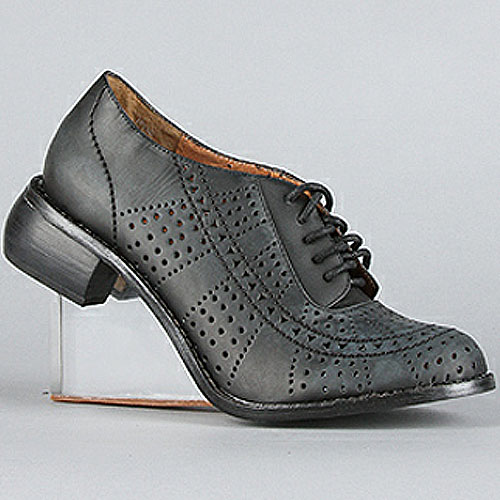 Jeffrey Campbell 'Upend' clear heel oxfords in black wash clear