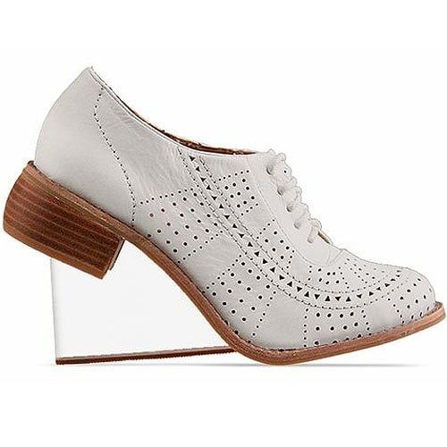 Jeffrey Campbell 'Upend' clear heel oxfords in white clear, $180.00