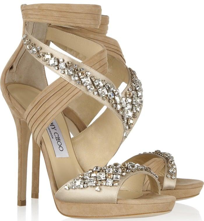 Jimmy Choo beige Kani Swarovski Crystal-embellished satin and suede sandals