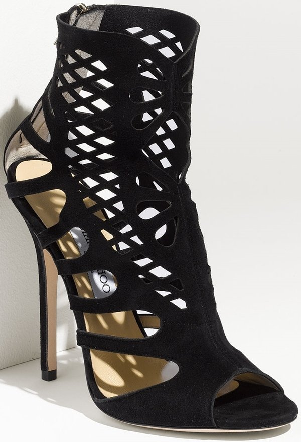 lack Suede Jimmy Choo 'Imogen' Caged Sandals