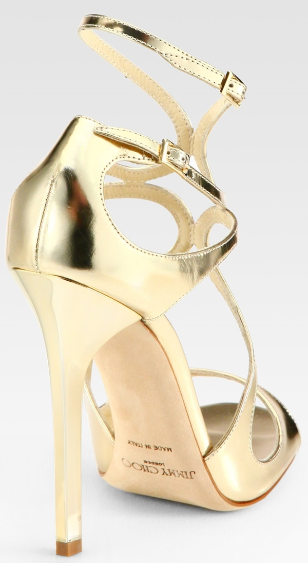 Jimmy Choo Lance Sandals in Gold