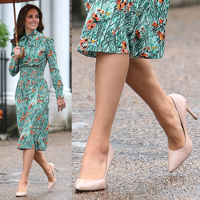 "Kate Middleton wearing her favorite nude L.K. Bennett ""Fern"" pumps during a visit to The Sunken Garden at Kensington Palace in London, England, on August 30, 2017."