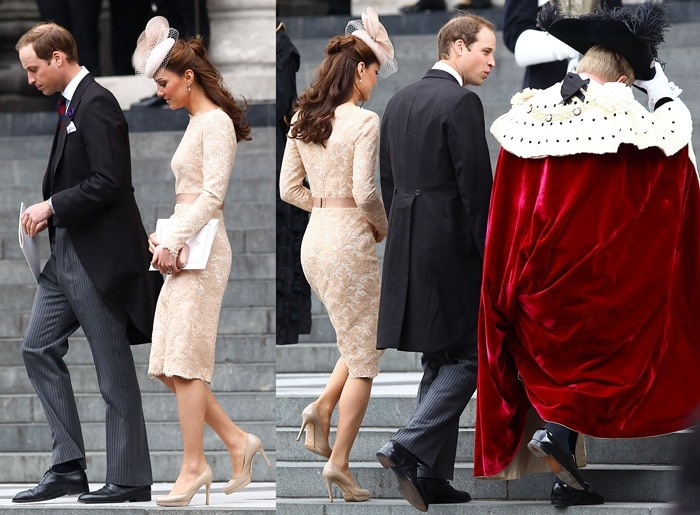 Kate Middleton was spotted attending the Queen's Diamond Jubilee in a lovely lace Alexander McQueen dress and classic nude L.K. Bennett pumps