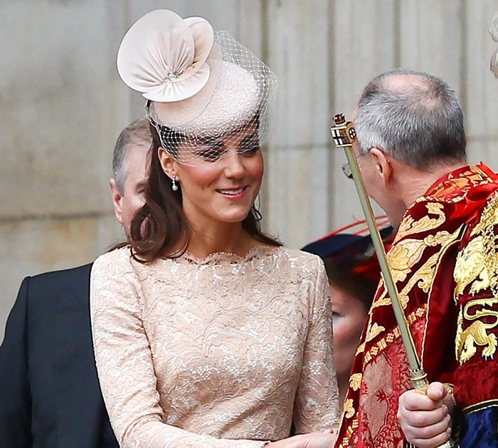 Catherine, Duchess of Cambridge, aka Kate Middleton leaving the Queen's Diamond Jubilee thanksgiving service at St. Paul's Cathedral in London on June 5, 2012