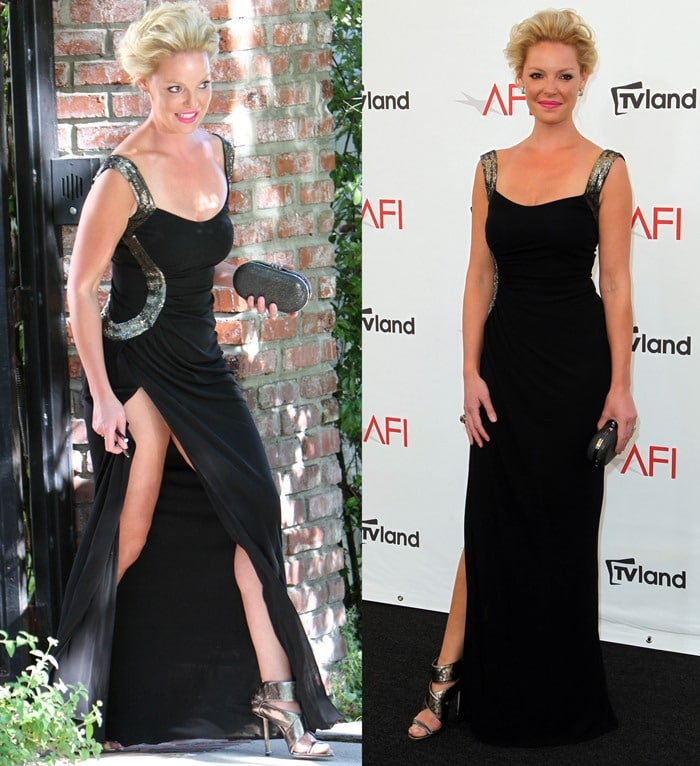 Katherine Heigl shows off a lot of leg in a black gown from Monique Lhuillier