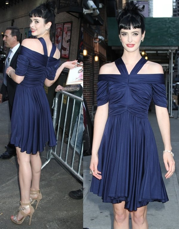 Krysten Ritter leaves 'The Late Show with David Letterman' at Ed Sullivan Theater on May 1, 2012, in New York City
