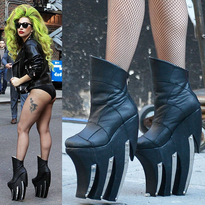 """Lady Gaga wearing Long Tran """"Longnecker"""" boots for her appearance on """"Late Show with David Letterman"""" in New York City on April 2, 2014."""
