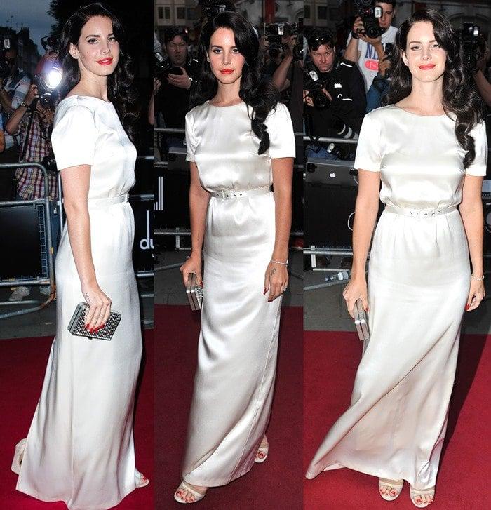 Lana Del Rey in a floor-length cream gown by Australian designer Wayne Cooper