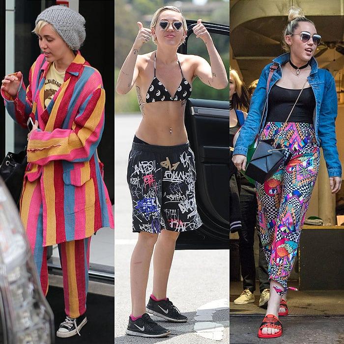 Miley Cyrus wearing dirty sneakers and flip-flops.