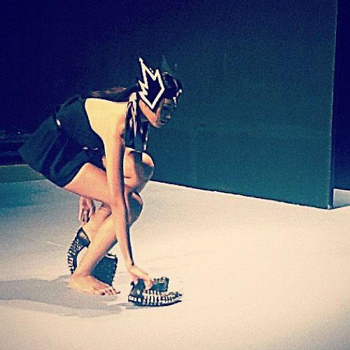 Joco Comendador 'Valkyrie' pumps as modeled in the Enrico Carado Holiday 2012 fashion show