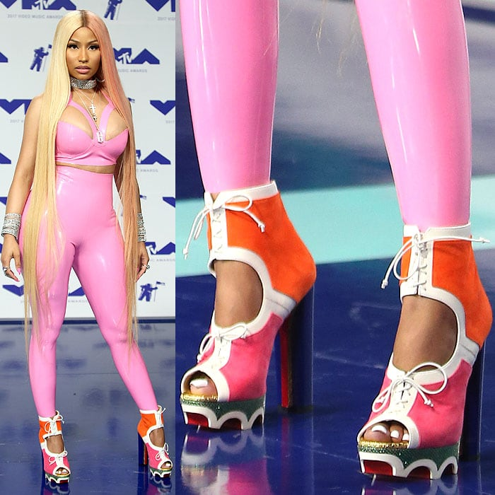 "Nicki Minaj in orange-and-pink Christian Louboutin ""Lolacrampon"" booties at the 2017 MTV Video Music Awards held at The Forum in Inglewood, California, on August 27, 2017."