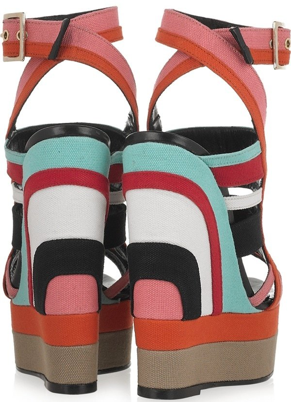 Pierre Hardy Canvas Multicolor Wedge Sandals