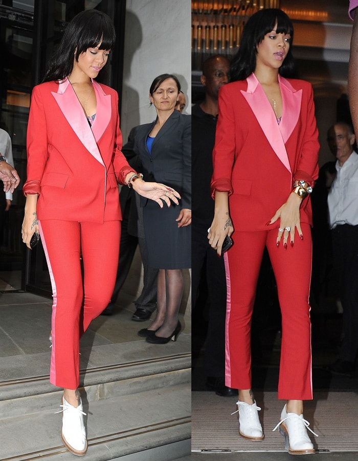 Rihanna's blazing red and Barbie pink satin tuxedo